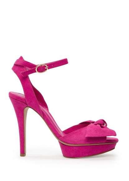shoes mango high heels fuchsia bow sandals