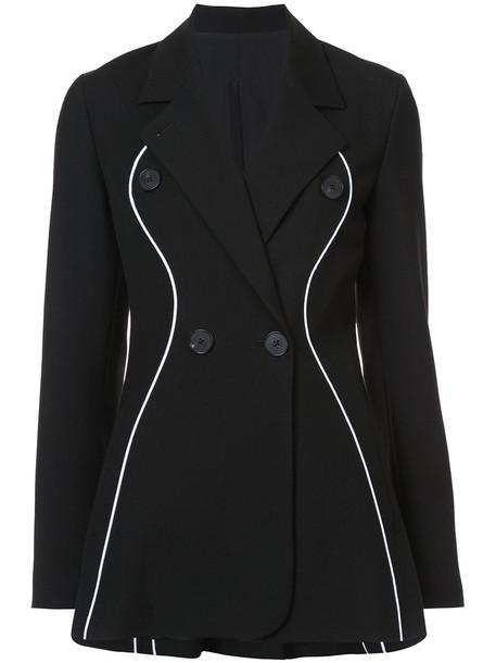double breasted women black silk wool coat