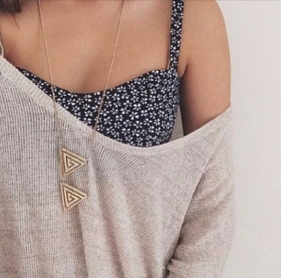 tank top floral off the shoulder sweater sweater jewels top triangle blouse oversized sweater floral tank top floral dark blue bandeau floral bando jersey necklace aztec necklace one shoulder beige off the shoulder see through t-shirt shirt underwear