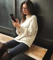 sweater,instagram,emily ratajkowski,jeans,fall sweater,fall outfits,boots,glasses,shoes,over the knee boots,sunglasses