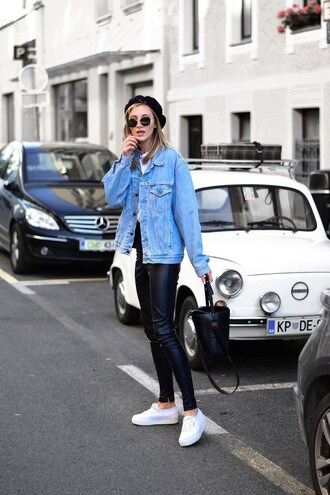 hat tumblr beret jacket denim jacket denim pants black pants leather pants black leather pants sneakers white sneakers sunglasses