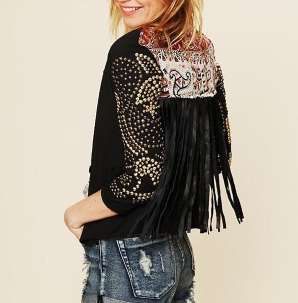 jacket leather jacket boho chic boho shirt bohemian fringes gypsy