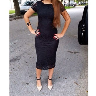 dress forever 21 little black dress lace dress midi dress midi skirt short sleeve pointed toe