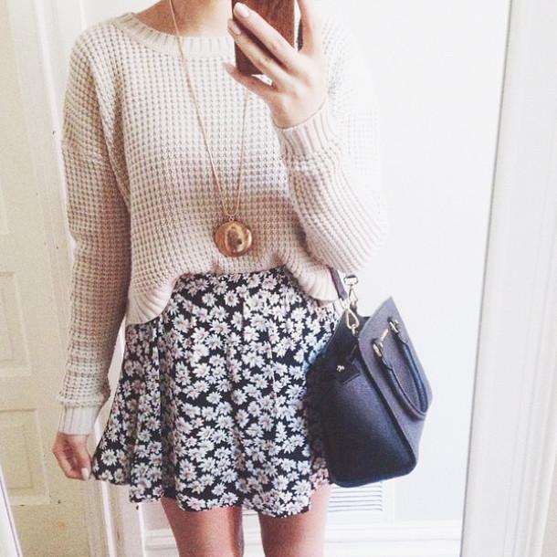 blouse sweater cream sweater cute sweater skirt floral skirt cute skirt bag gloves