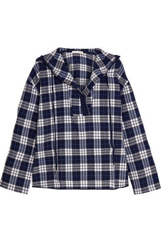 top plaid navy cotton