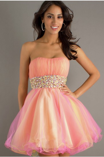 Cheap A-Line Strapless Organza Prom Dress