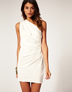 Asos one shoulder dress with drape front at asos