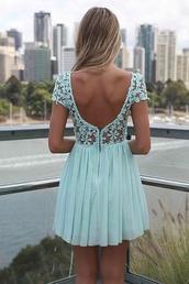 dress,turquoise,lace flower,open back,www.ebony.net,baby blue