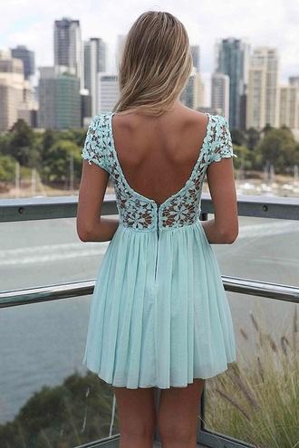 dress turquoise lace flower open back www.ebony.net baby blue