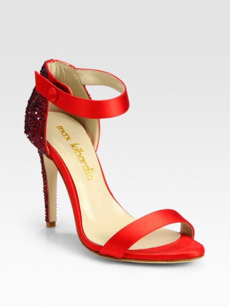 Shoes: red high heels, short heels, prom shoes - Wheretoget