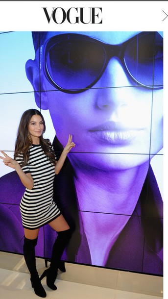 dress lily aldridge model victoria's secret model striped dress style stylish