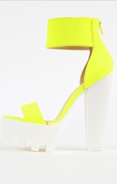 Shoes: neon yellow heels chunky shoes chunky heels platform