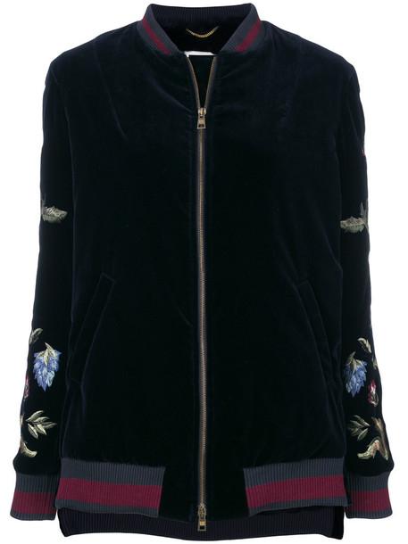 Bazar Deluxe - embroidered floral bomber jacket - women - Cotton/Rabbit Fur/Spandex/Elastane - 44, Blue, Cotton/Rabbit Fur/Spandex/Elastane