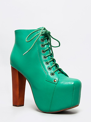 Jeffrey campbell lita turquoise leather platform boot booty heel women sz new!