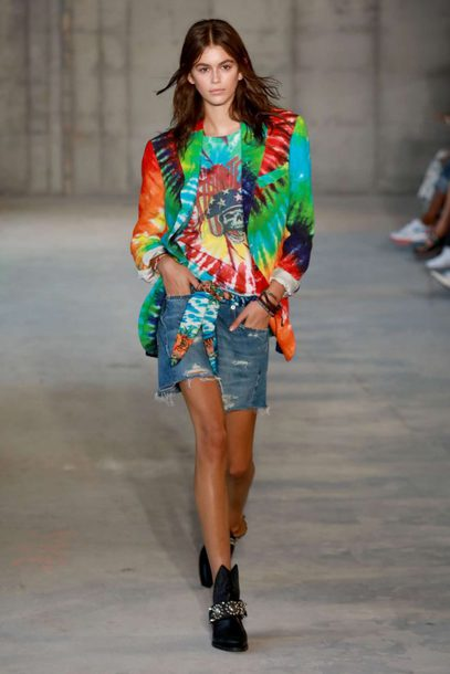 jacket runway denim blazer multicolor kaia gerber model spring outfits