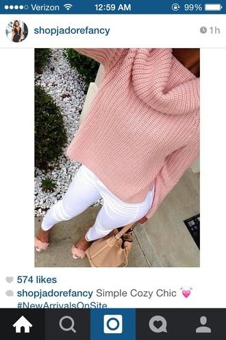 sweater pink pink sweater oversized sweater cute sweater cute crop top sweater cropped sweater