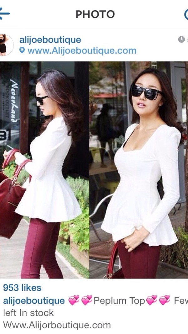 blouse white black yellow peplum top