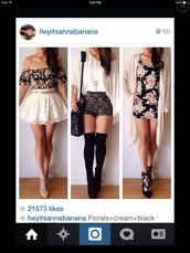 sweater,floral dress,flowered shorts,floral blouse,cream lace skirts,cream blouse,cream cardigan,dress,shorts,flowers,black,pink,girly,cream,skirt,blouse,shirt,top,black with flowers dress,shoes,underwear,bag,white lace with belt,cardigan,socks,floral high waisted shorts,cute,floral,style,jewels,middle shirt,High waisted shorts