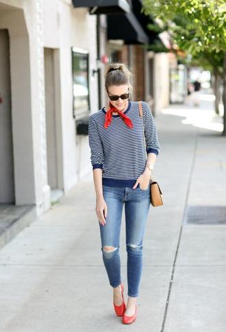 pennypincherfashion blogger sweater scarf jeans shoes bag jewels striped top shoulder bag red shoes