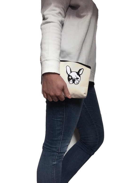 FRENCH BULLDOG BAG - frenchie make up bag, cosmetics pouch, Frenchie purse, pens bag, make-up pouch, frenchie pencil case, cosmetics bag
