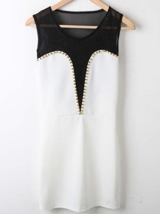 dress studs white gold black mesh mini bodycon