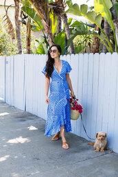 dress,blue dress,midi dressw,wrap dress,bag,flowers,dog,shoes