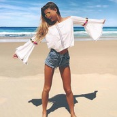 top,pom poms,crop tops,off the shoulder,bell sleeves,white,cotton,beach,cover up,pitusa