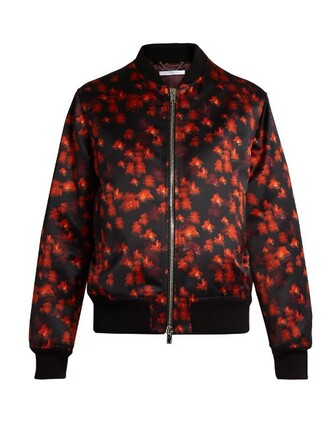 jacket bomber jacket satin bomber floral cotton print satin red