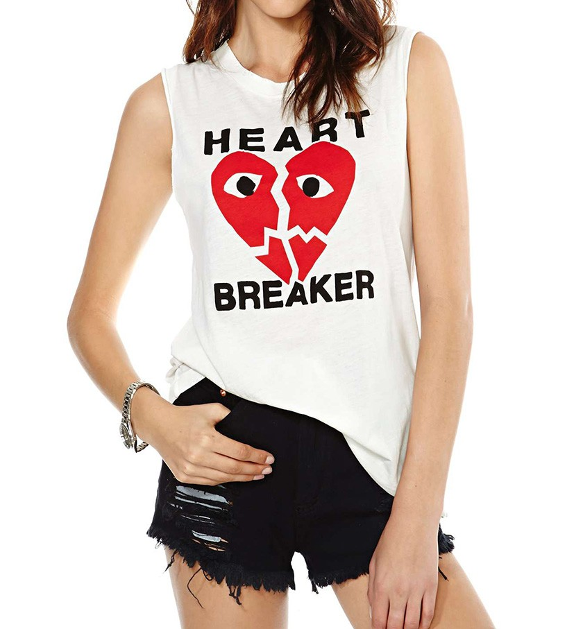 Frayed Trim Vest With Broken Heart Print