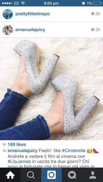shoes silver glitter urgent now