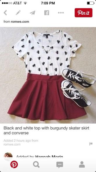 skirt burgundy short skirt