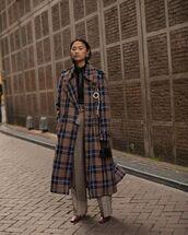 coat,plaid,brown leather boots,high waisted,pants,handbag,black bag,black top