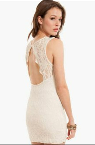 dress lace dress ivory dress bodycon dress bodycon white lace dress white dress tobi backless backless dress lwd little white dress white white lace