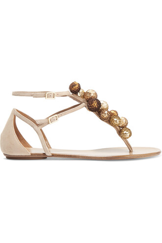 embellished sandals suede gold beige shoes