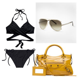 carolines mode blogger swimwear sunglasses black bikini mustard yellow bag