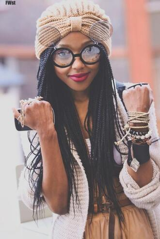 hat jewllery vintage beige skirts knits knitsweater braid box braids round sunglasses belts sunglasses turban open sunglasses versatile circle frame circle frame sunglasses jewels hairstyles