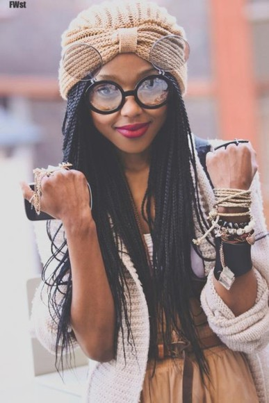 braid vintage hat jewllery beige skirts knits knitsweater box braids round sunglasses belts sunglasses