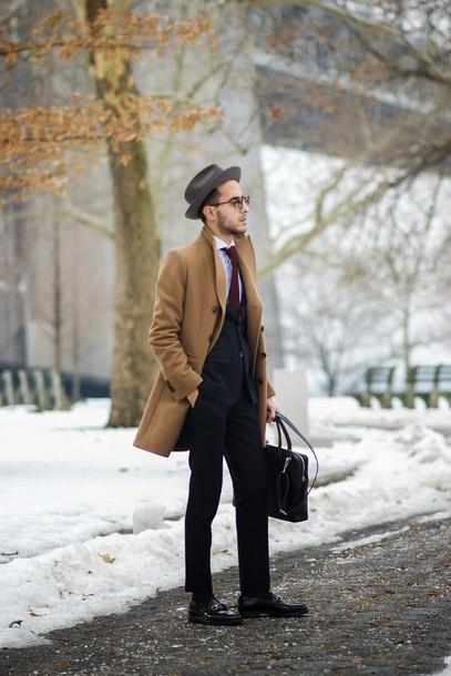 the metro man blogger camel coat mens suit mens pea coat