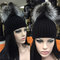Beanie hat with natural silver fox fur bobble/pompom attached