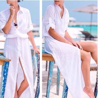 dress shirt dress beach white