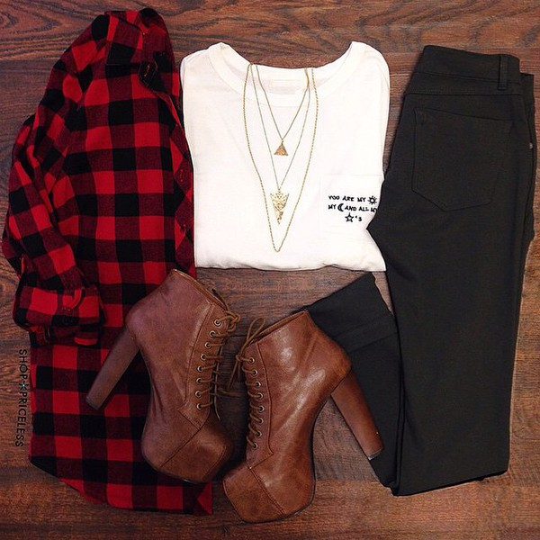 top white white t-shirt t-shirt jeans heels lolita high heels boots plateau black grunge flannel shirt style red shoes necklace gold platform lace up boots pants blouse jewels shirt