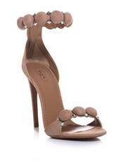 shoes,nude,heels,sandals,two strap,pom pom,pom pom heels