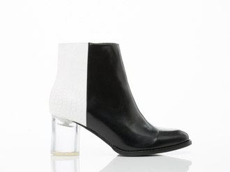 shoes colorblock boots ankle boots clear heel clear heels monocrome chunky heels mid heel boots