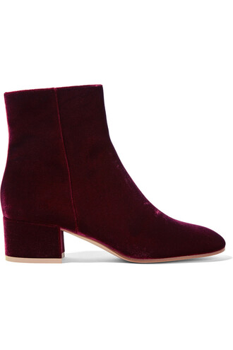 boots ankle boots velvet burgundy shoes