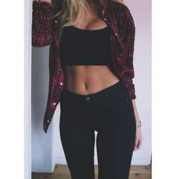 pants crop tops vest jeans shirt tank top jacket blouse black red crop tops