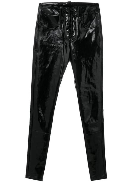 leggings women lace leather black pants