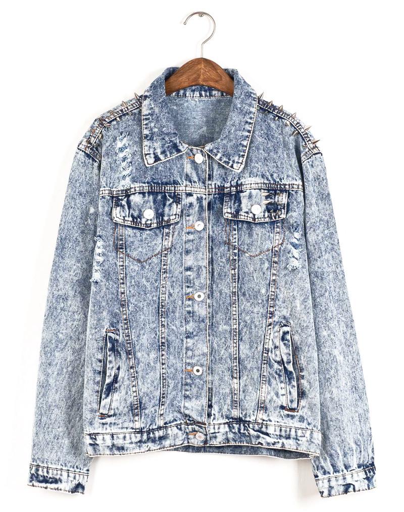 Studded denim jacket in acid wash – littlebylittle