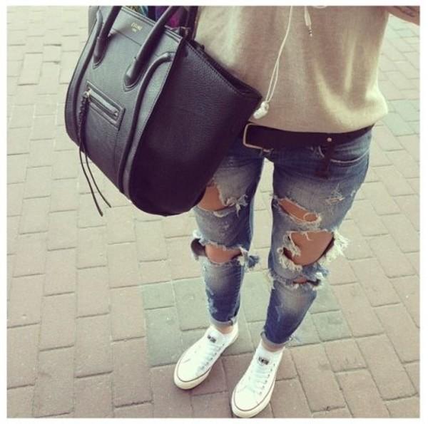 jeans shoes belt bag blouse
