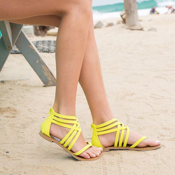shoes strappy sandals yellow sandals strappy vivid sandals bright sandals qupid