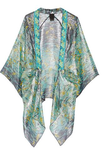 kimono embroidered silk turquoise top
